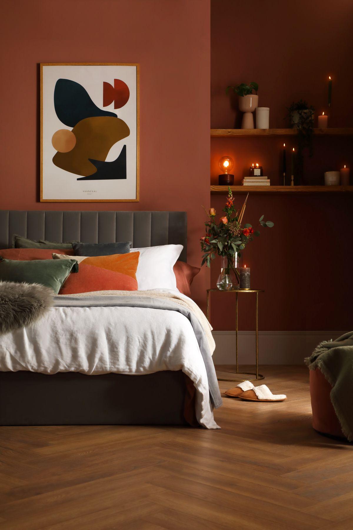 Astor Grey Velvet Bed - An Autumn Retreat