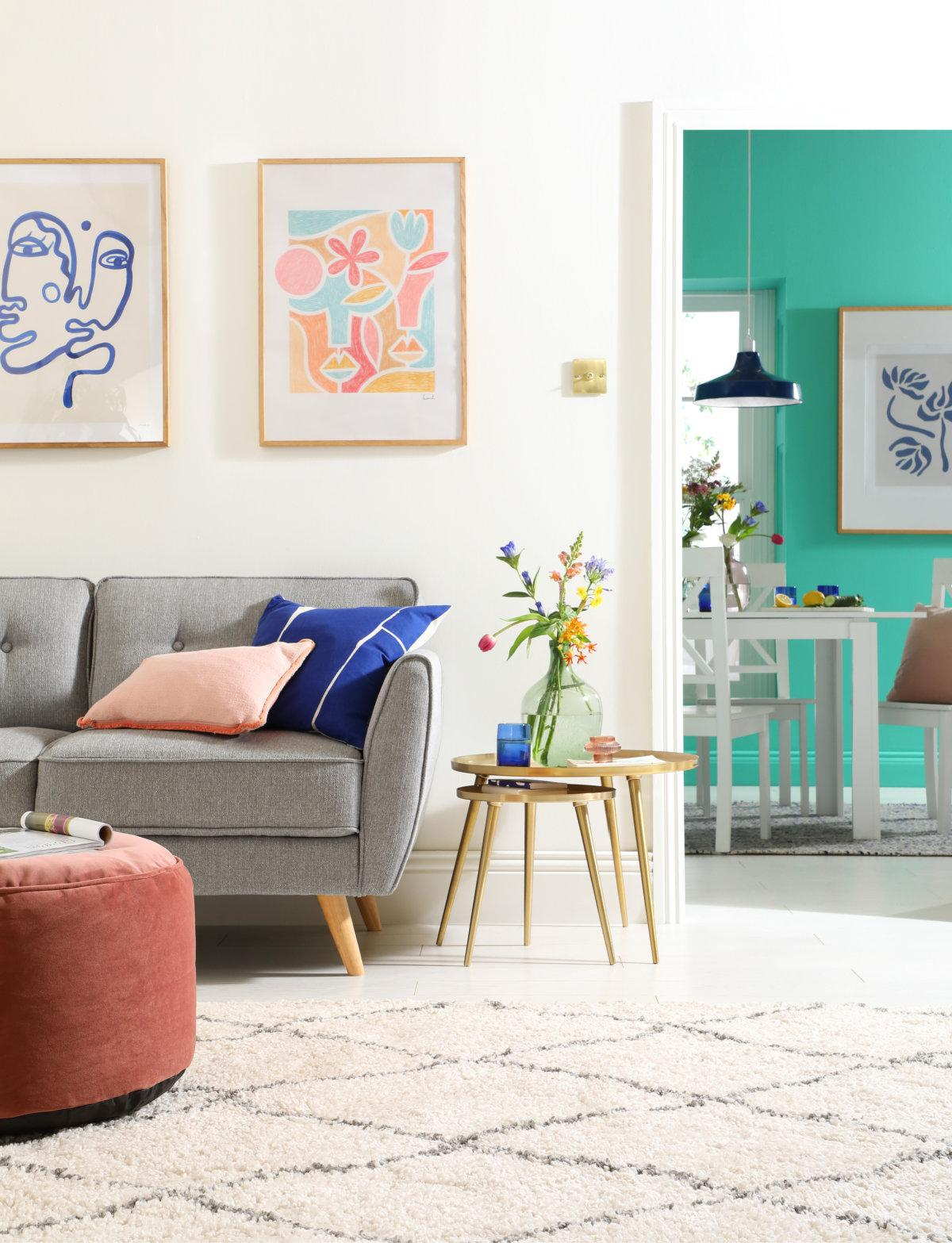 Harlow Light Grey Fabric Sofa, Aspen Table and Kendal Chairs - Brighter Days