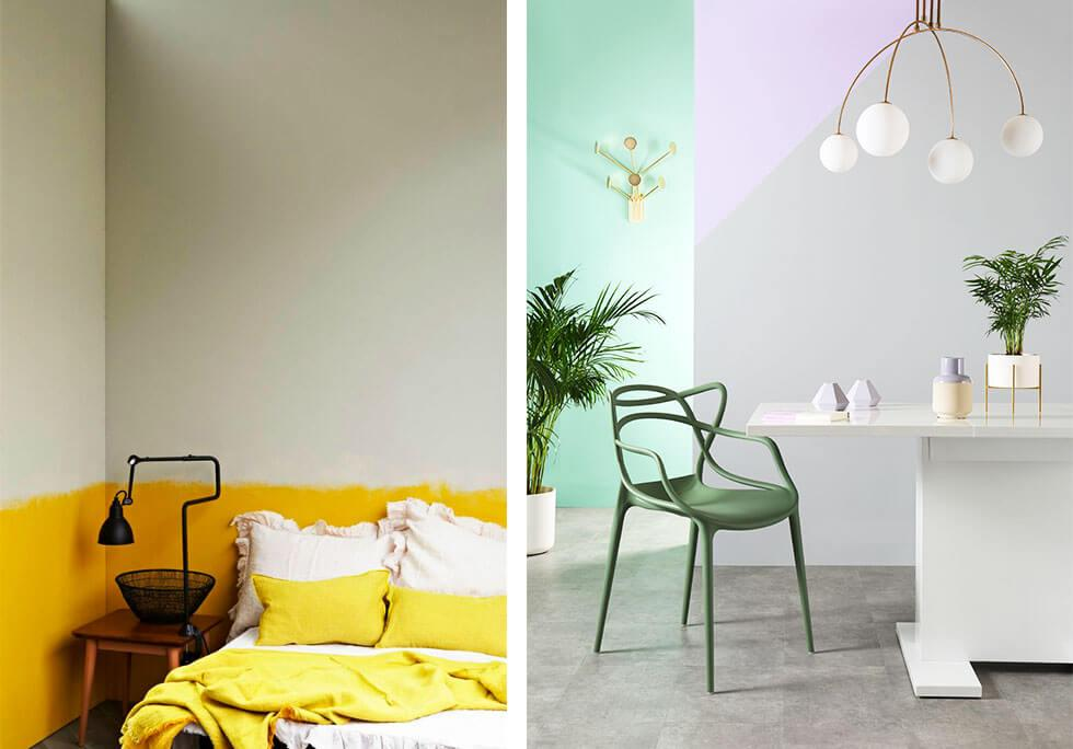 Different styles of colour blocked walls.