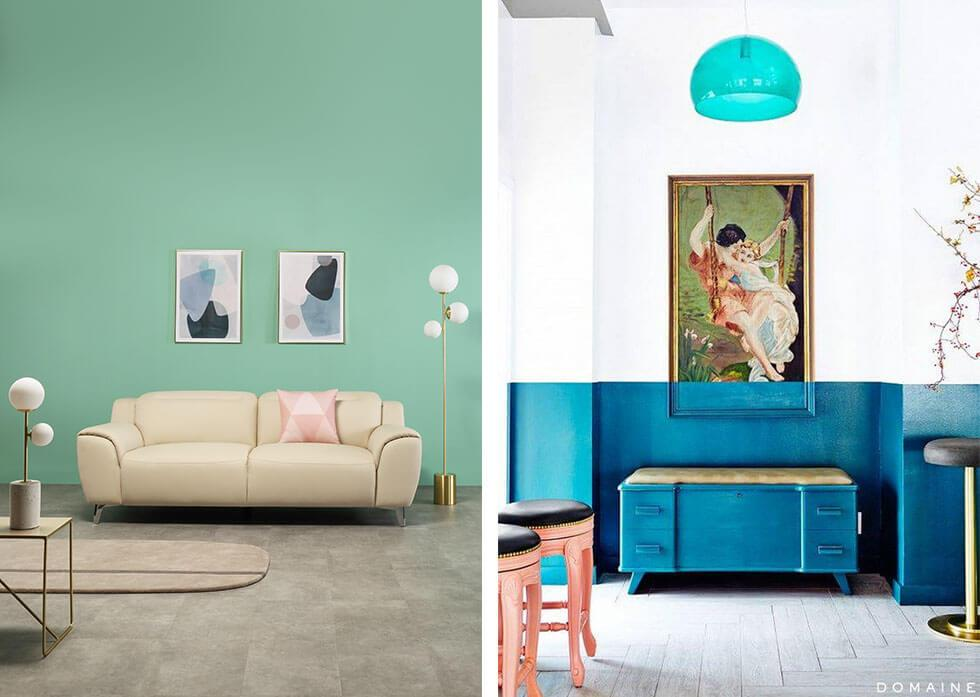 Collage of different colour block styles at home.
