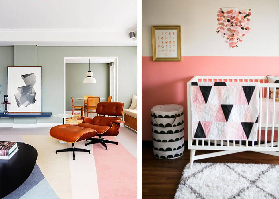 Geometric-style colour blocked prints at home.