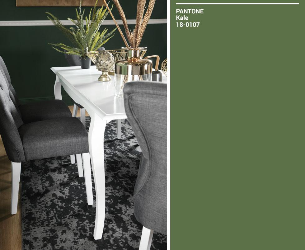 Collage of white dining set and green Pantone swatch.