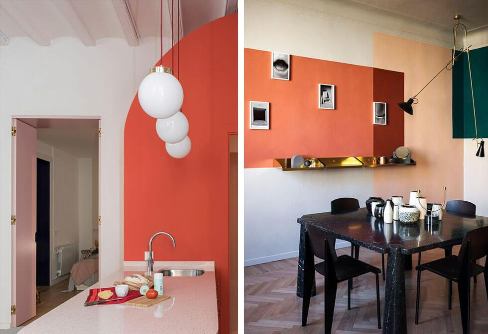 Living Coral paired with lighter pastels and darker hues.