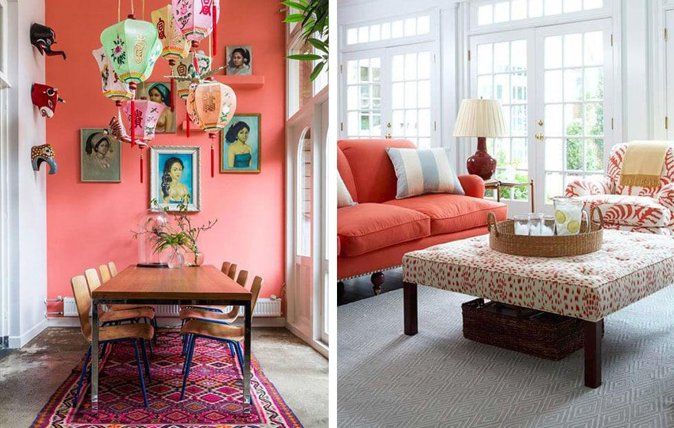 Brightly lit coral-accented interiors.