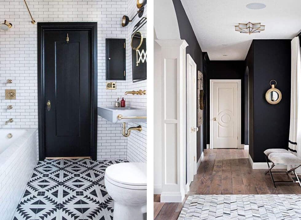 Black and white interiors.