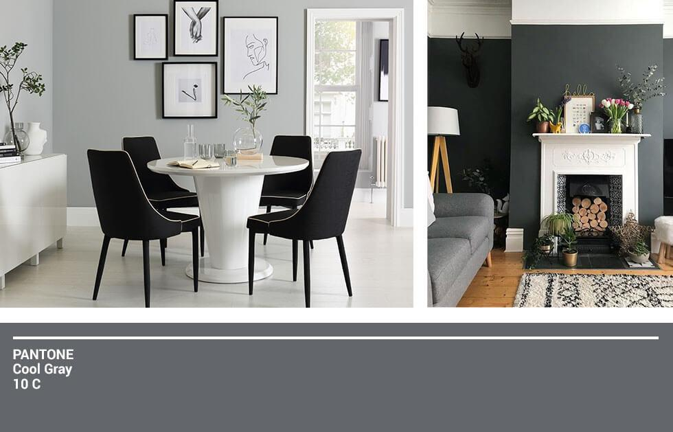 Black and white themed living room and dining room.