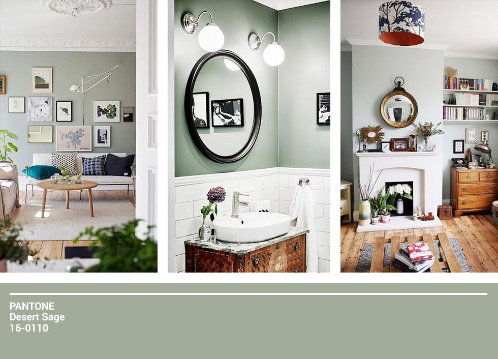 Compilation of sage coloured rooms.