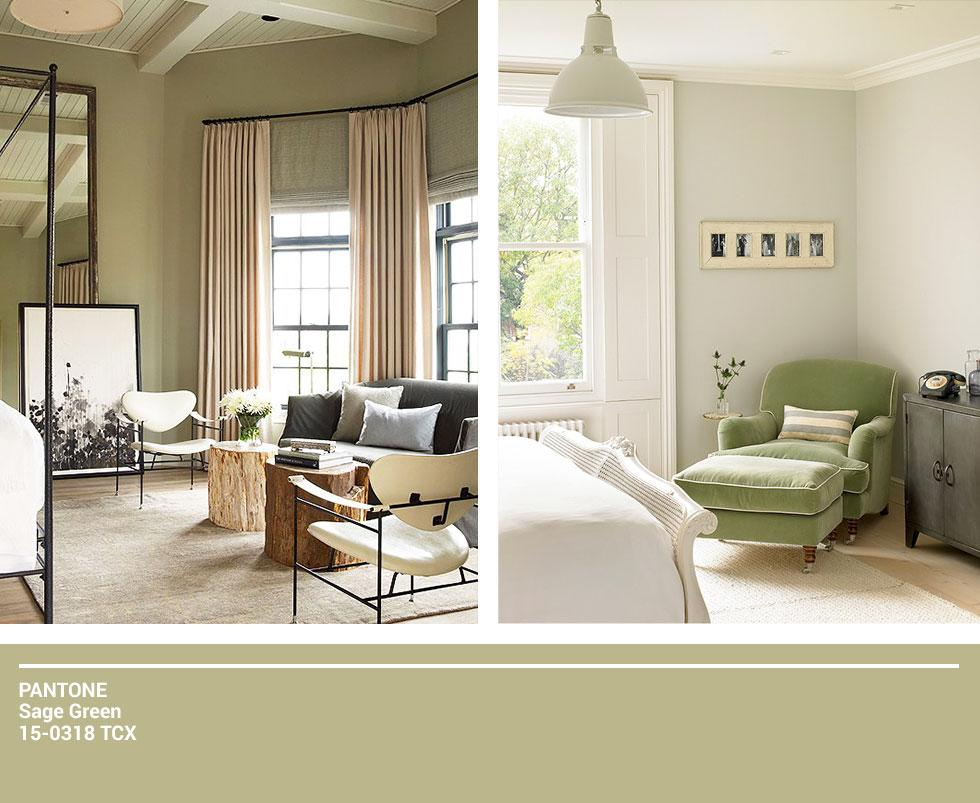 Collage of sage coloured bedrooms.