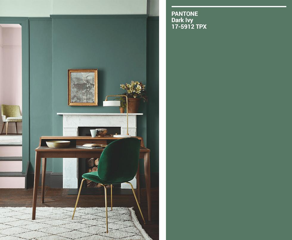 Compilation of green Pantone swatches and matching coloured room.