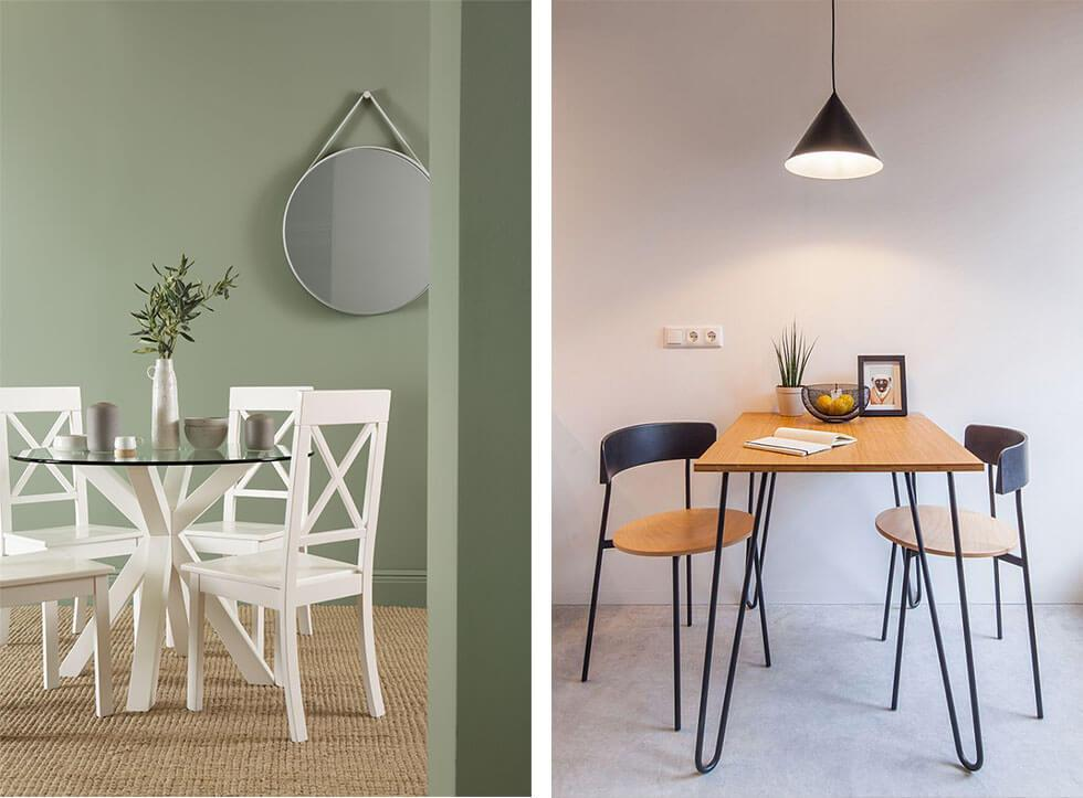 Two minimal dining rooms, one with a white dining set, another with a wood dining set.
