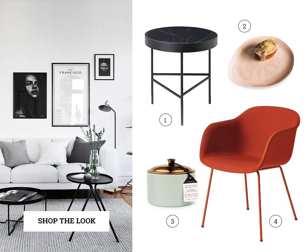 A collage of minimalist, Scandi accessories