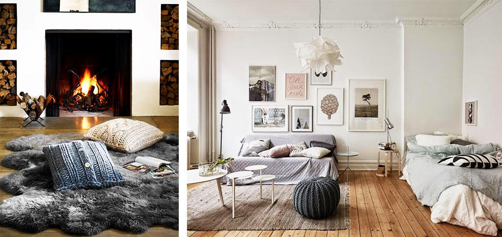 Cosy living spaces with throw cushions, rugs and knits.