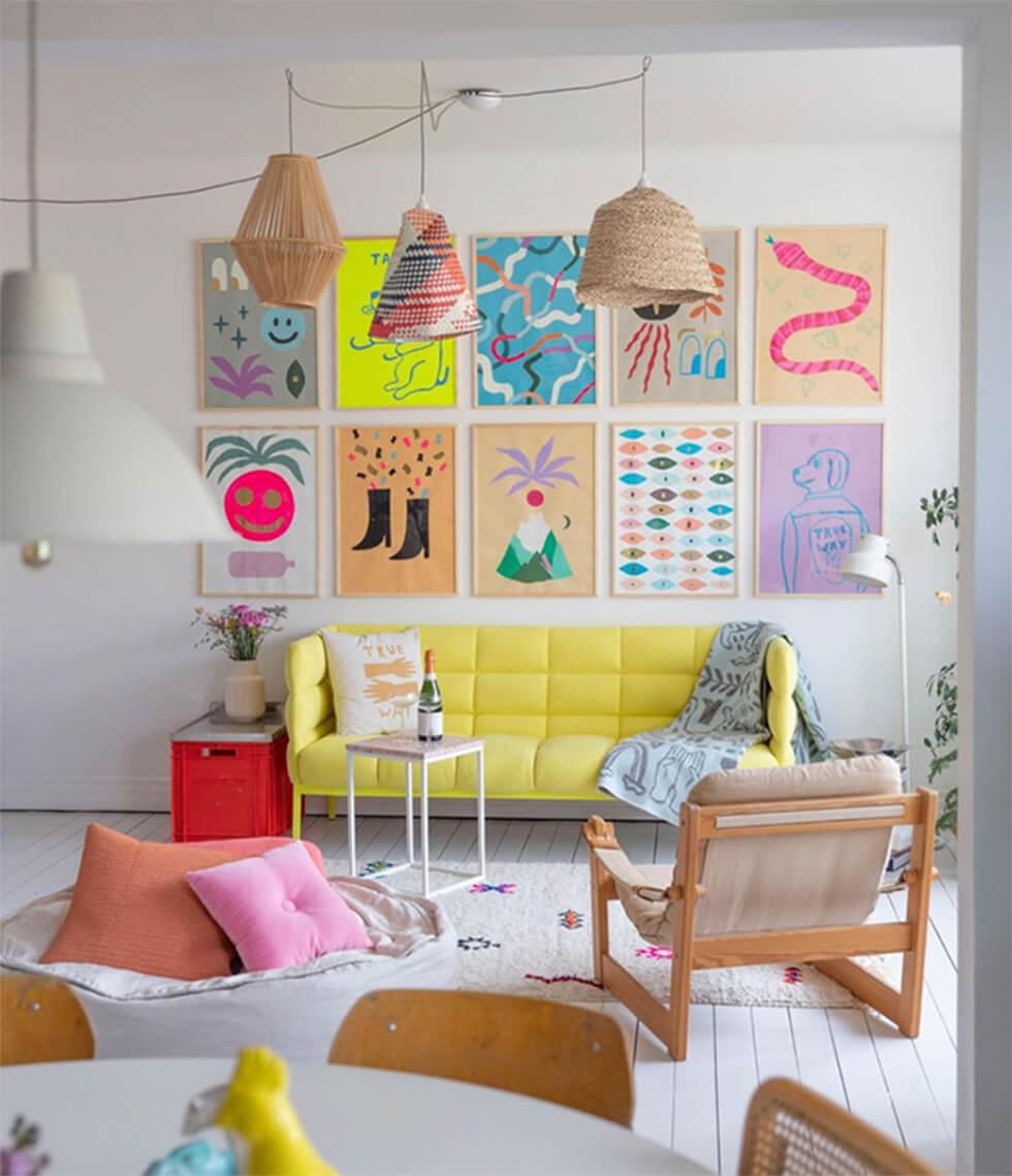 Pastel living room with yellow sofa