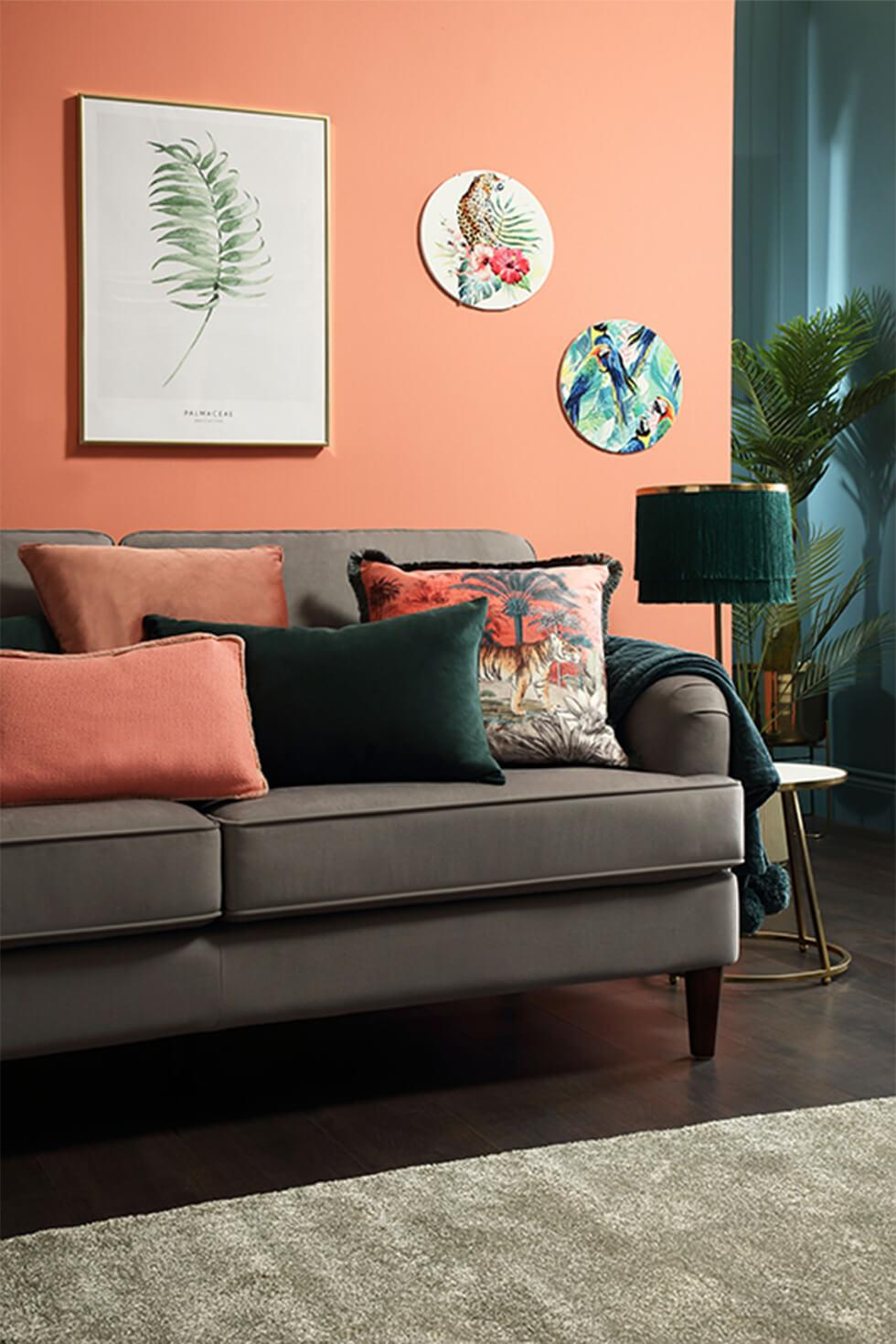 Coral living room with brown sofa