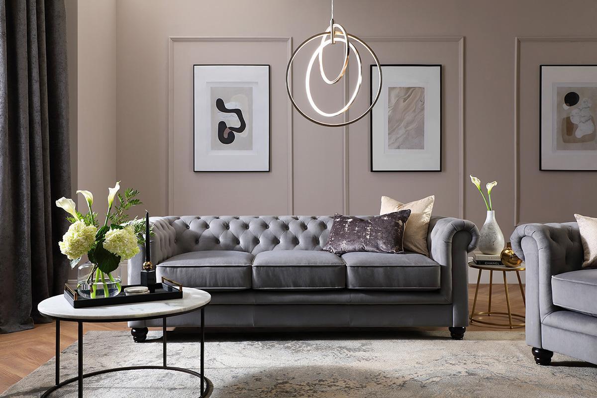 Hampton Grey Velvet 3 Seater Sofa - Designer Living