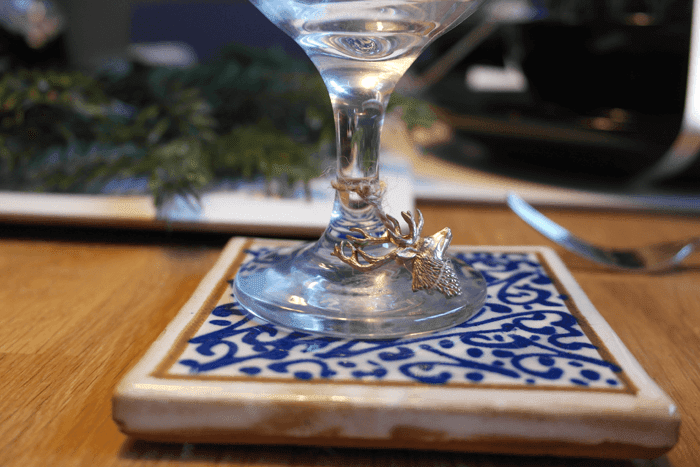 Ceramic coaster with blue pattern