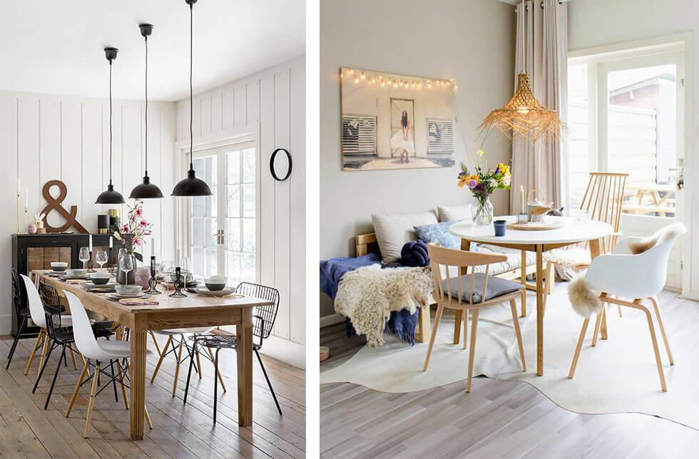 Two neutral, white wooden dining rooms with mix and match chairs