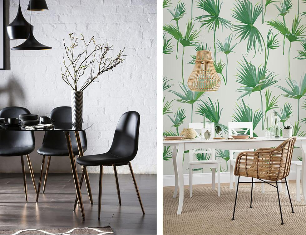 Two dining rooms, one with dining chairs that have copper legs, one with a tropical theme and a rattan chair.