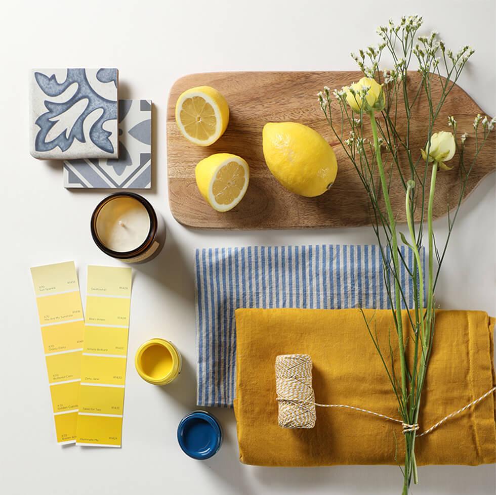 Yellow dining room flatlay decor