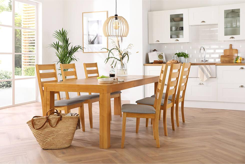 Organised kitchen diner with wooden dining set