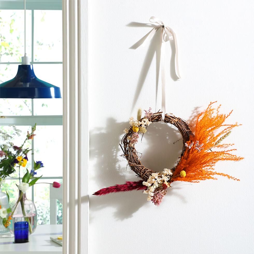 Vibrant floral hoop for spring or easter
