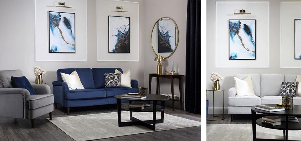 Shots of a living room with framed artwork.