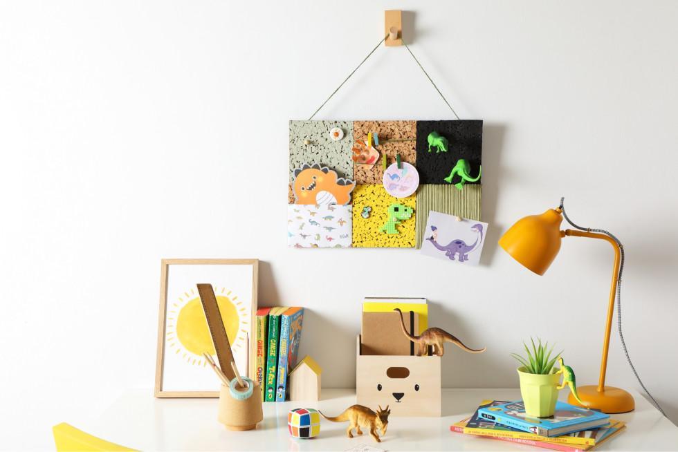 Kids memo board hung up above a desk