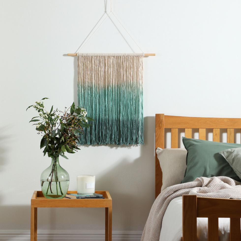 Ombre wall hanging in the bedroom