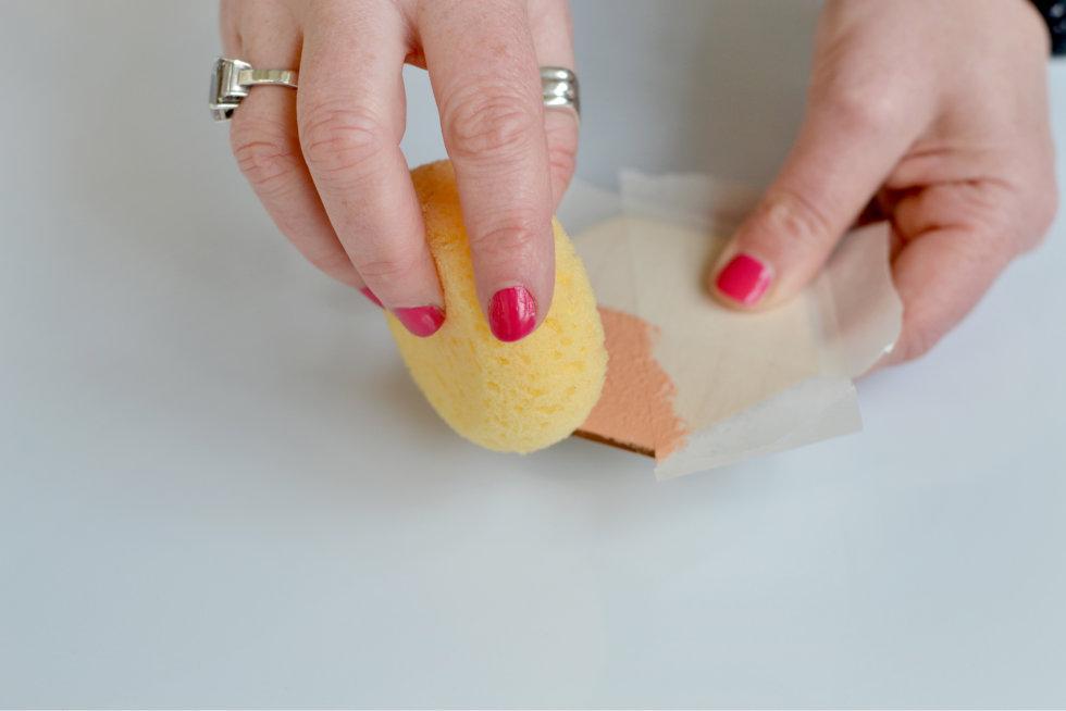 Step 2 (a) - Use sponge to paint coaster