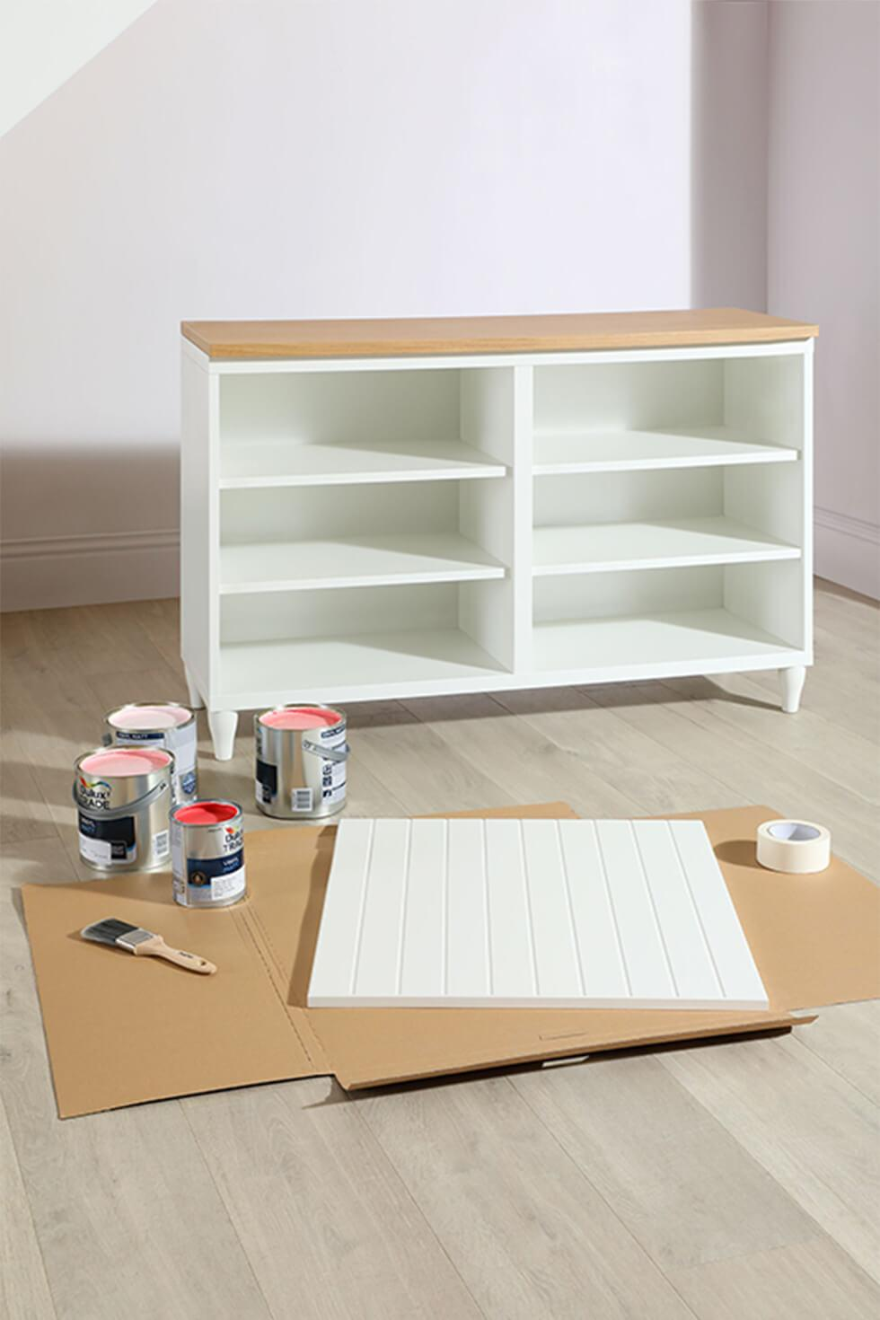 Materials needed for a diy ombre sideboard