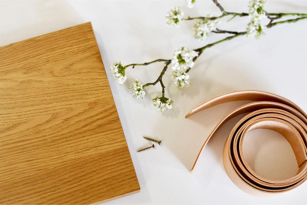 Materials needed to DIY a leather strap shelf