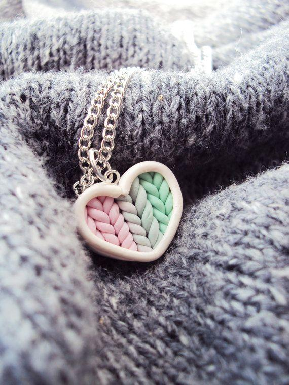 Knitted heart pendant