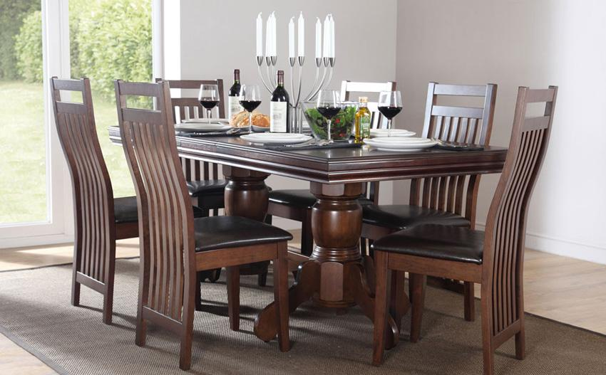 Dark wood dining set.
