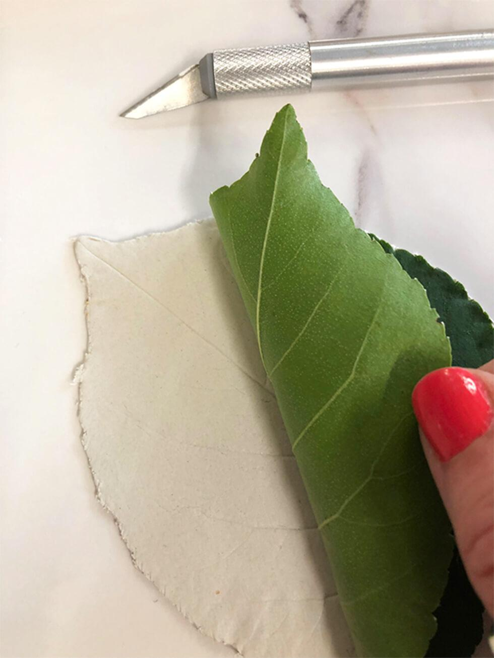 DIY leaf-shaped metallic trinket dish - Step 2 - Use a scalpel to trim away excess clay