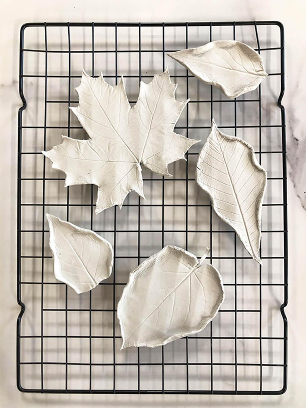 DIY leaf-shaped metallic trinket dish - Step 3 - Gently curl up the sides of the dish with your fingers to form a shallow edge and leave to dry overnight
