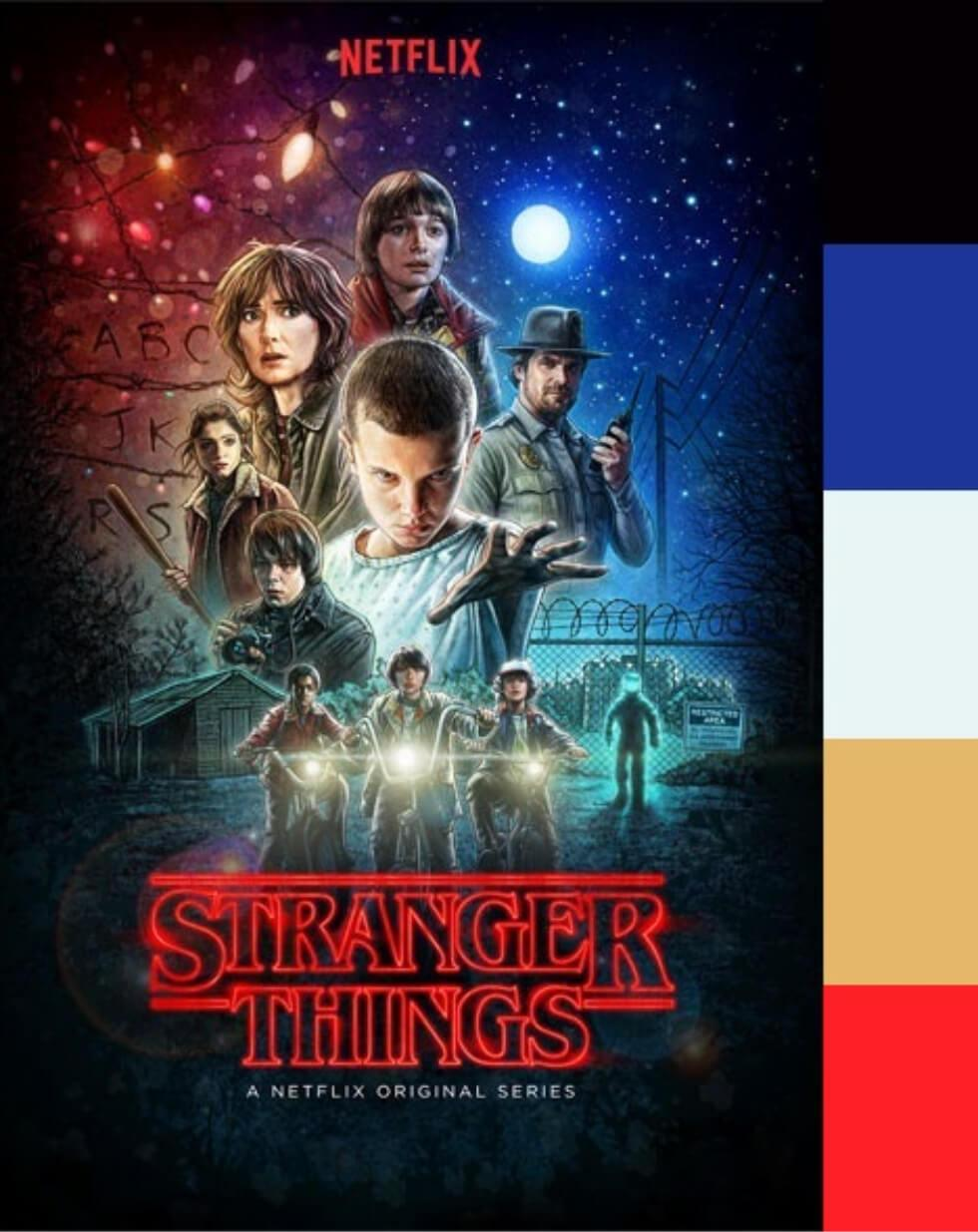 Stranger Things movie poster and colour palette