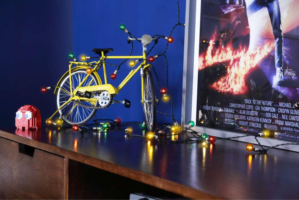 Miniature bicycle prop with fairy lights
