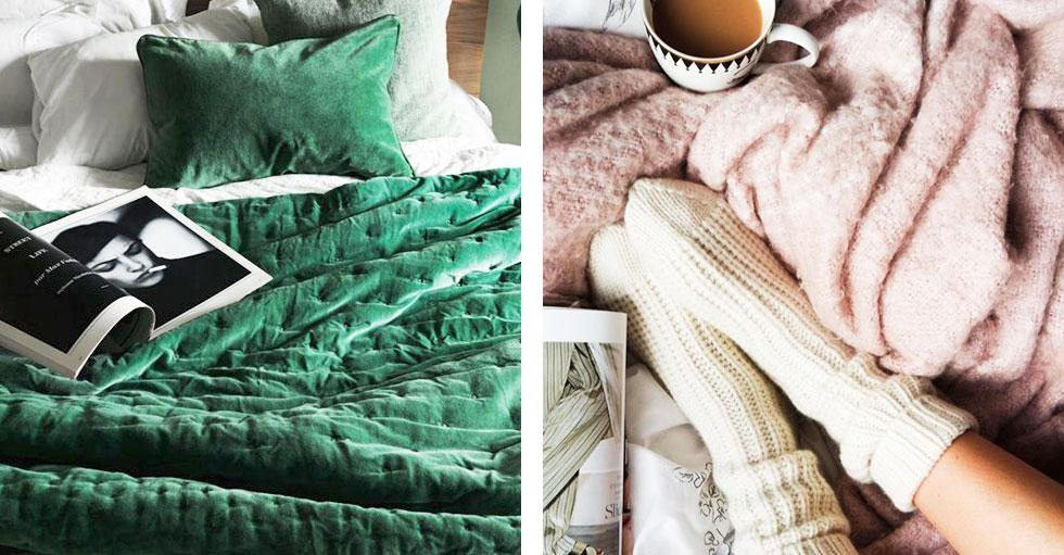 Green, pink and white textured fabrics.
