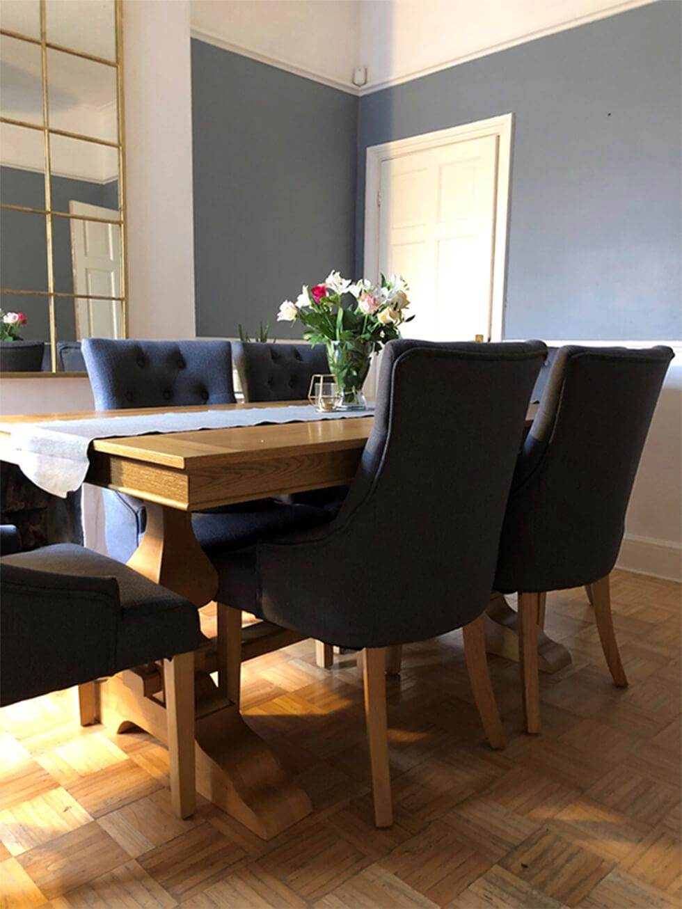 Traditional wooden dining set in the dining room