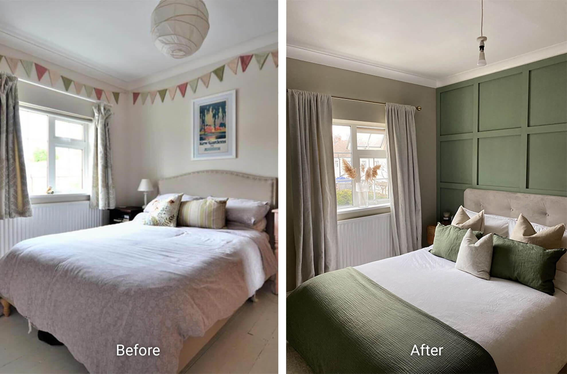 Scandi inspired bedroom with green walls and wall panelling