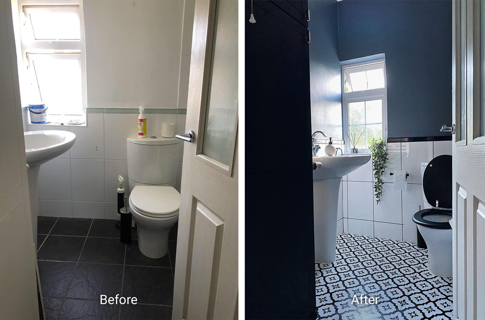Bathroom with a dark Scandi feel and vinyl floor tiles