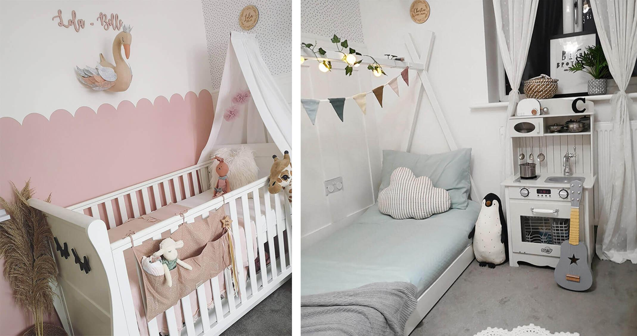 A children's bedroom with blue and pink accents