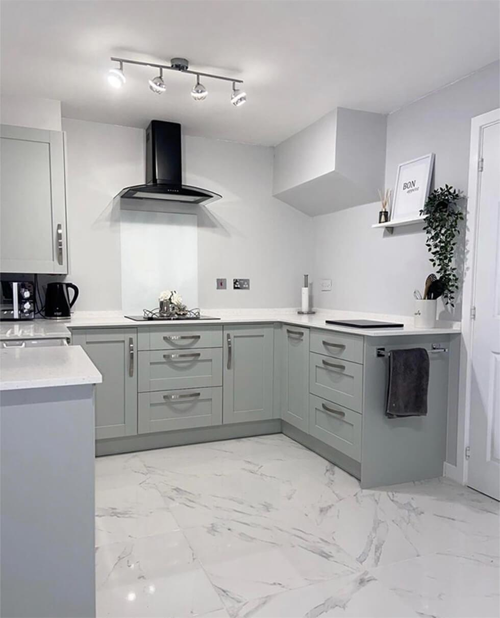 modern kitchen with grey cabinets