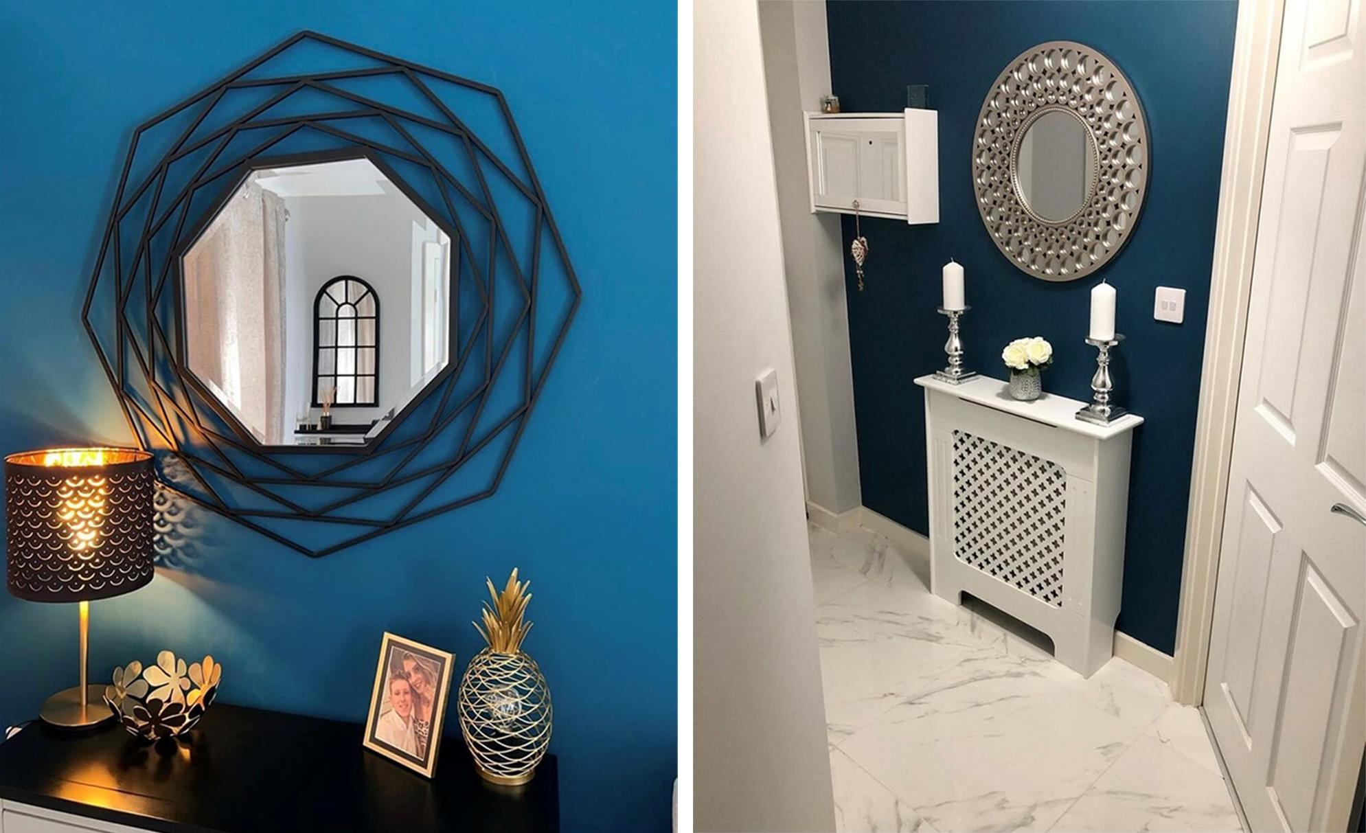 blue and white hallway with statement silver mirror