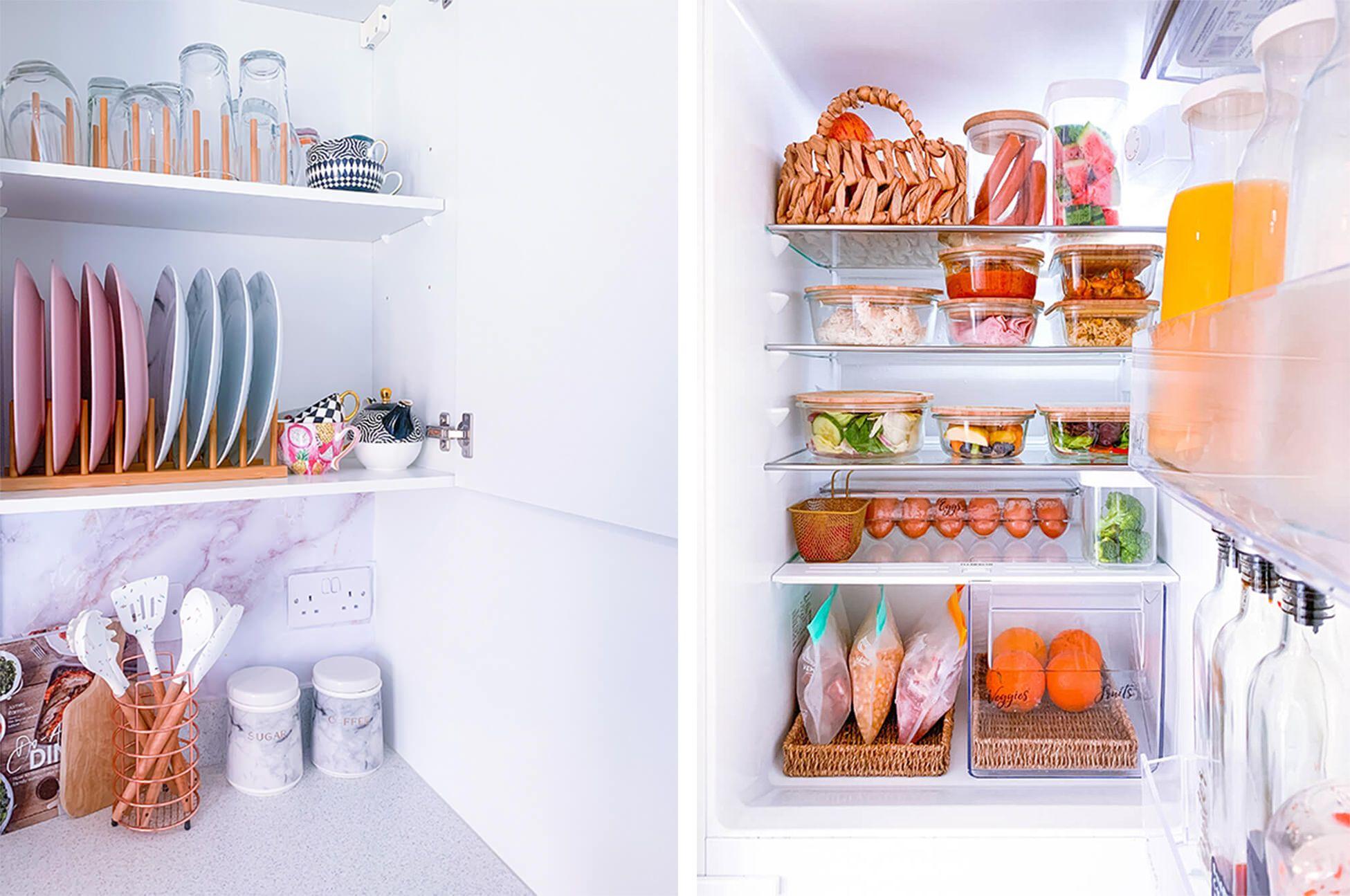 Tableware beautifully organised on a white kitchen shelf