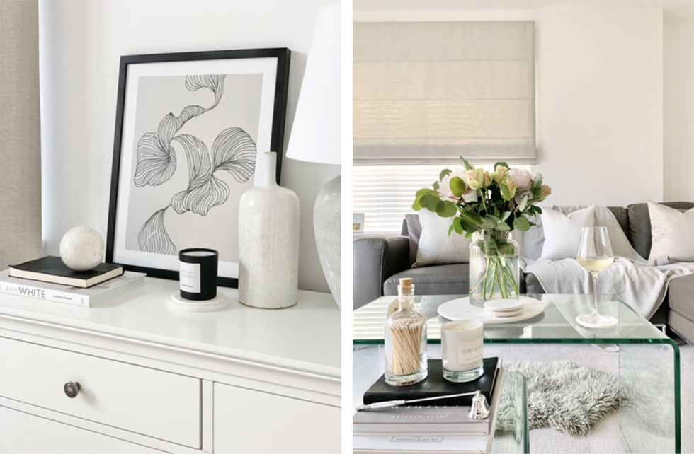 A neutral living room decorated with chic accessories like vases, flowers and coffee table books