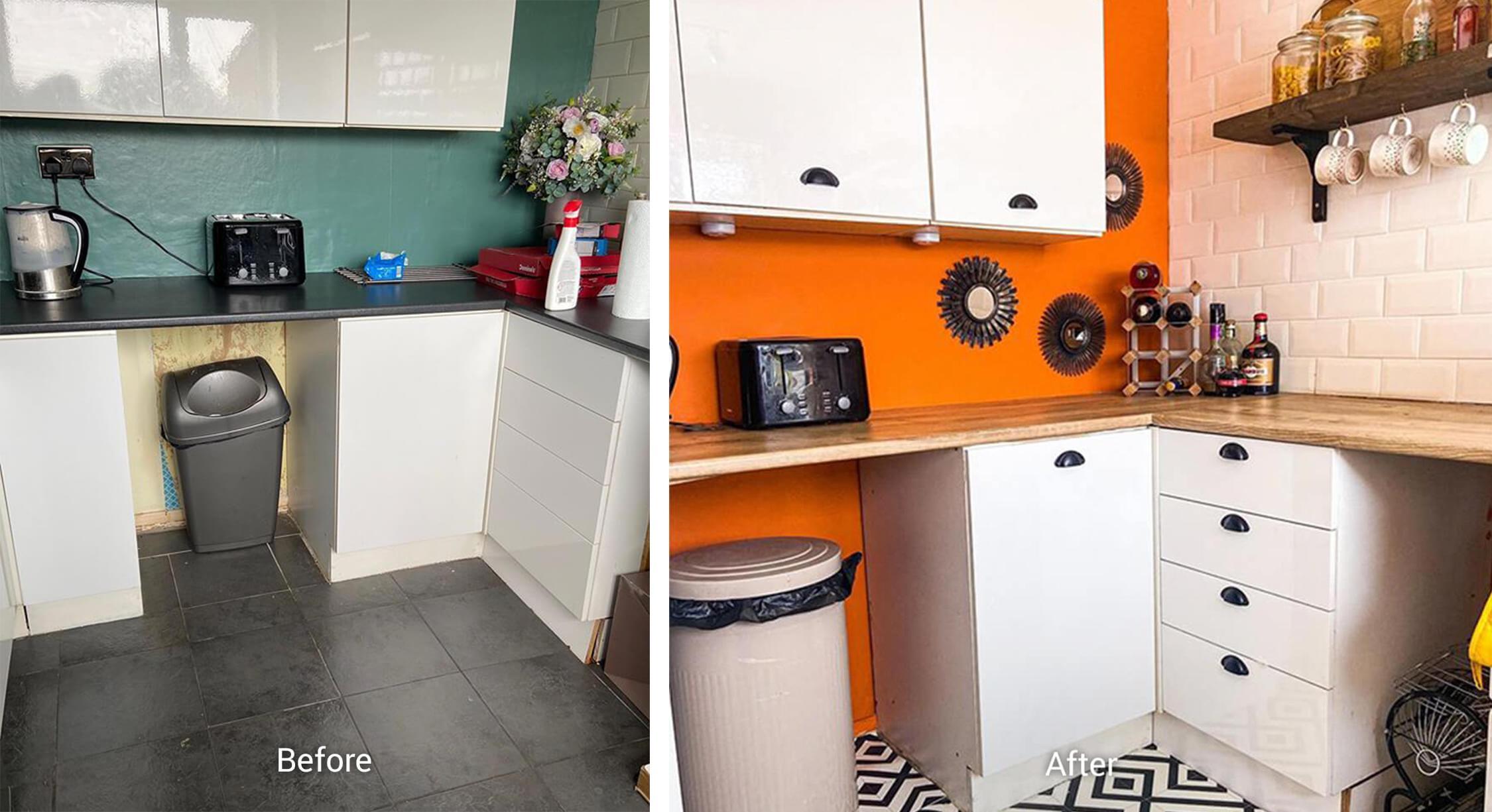 kitchen with white cabinetry orange walls and white subway tile backsplash