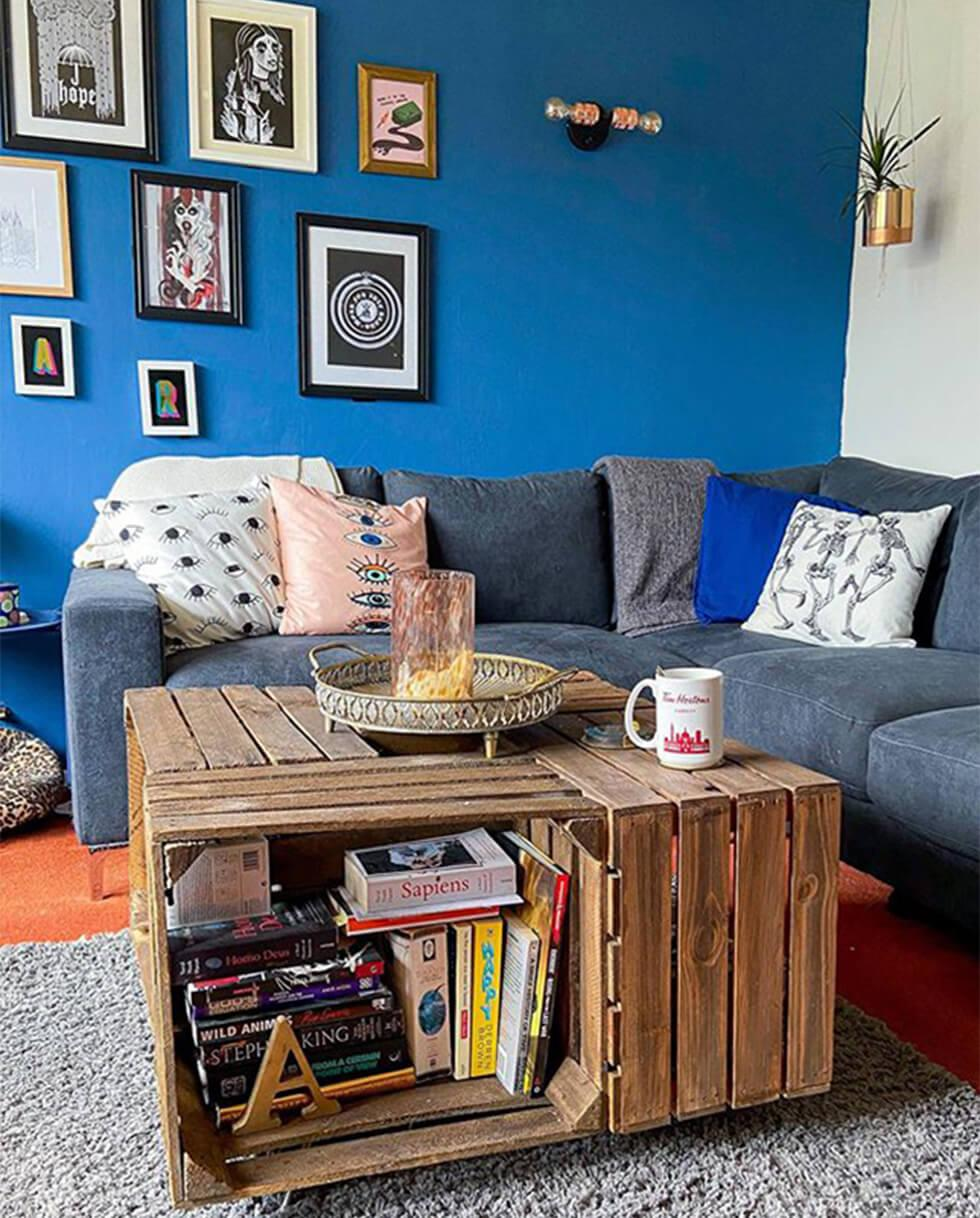 diy upcycled coffee table in a blue modern living room