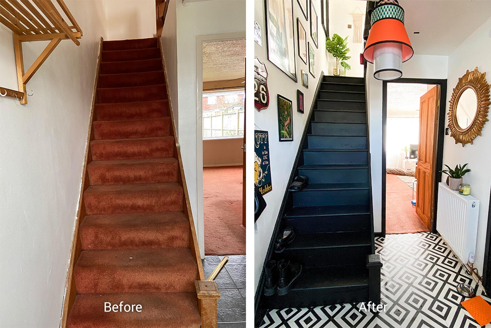 black painted wooden stairs and a black and white diy vinyl floor