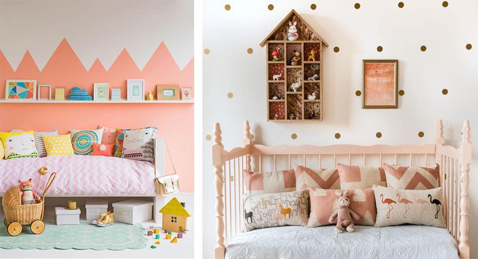 Girls bedrooms in cute blush tones